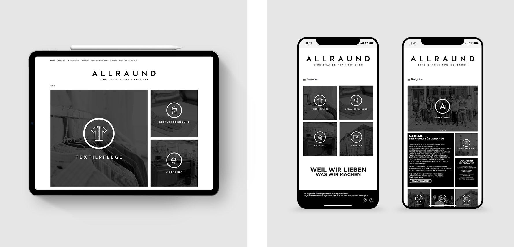 Hüfner Design | Referenz AllrAUnd gGmbH | Corporate Identity | Design Mobile Devices