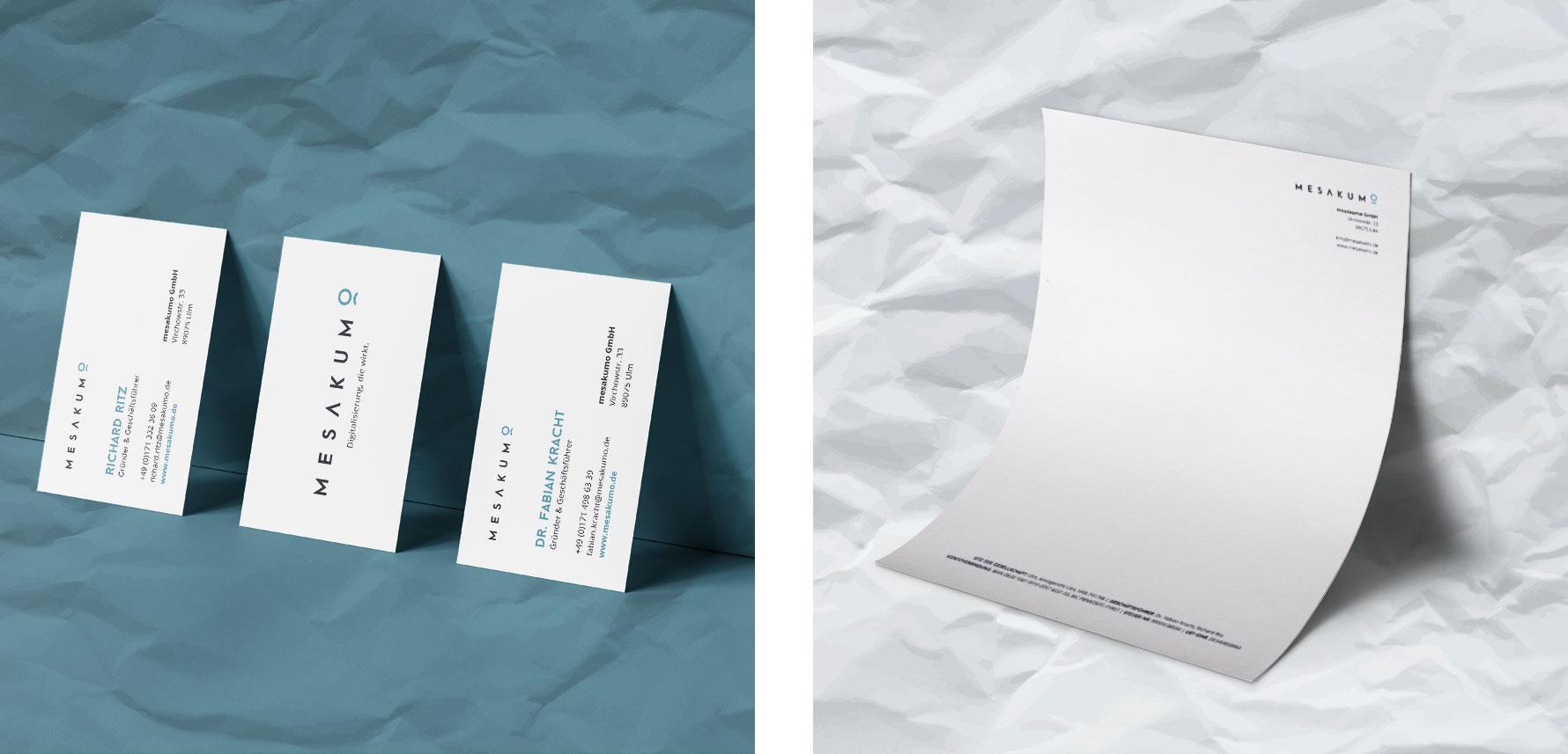 Hüfner Design | Referenz mesakumo | Geschäftsausstattung, Briefpapier, Visitenkarten